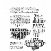 Stampers Anonymous/Tim Holtz - Cling Mount Stamp Set - Faded Type - CMS397